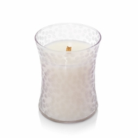 CLOSEOUT - Black Plum Cognac First Frost Hammered Medium Hourglass WoodWick Candle