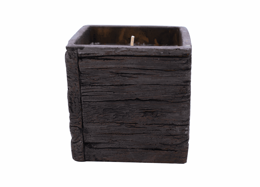 CLOSEOUT-Cedarwood & Sweet Orange Weathered Wood Pottery Small Square Pot Swan Creek Candle