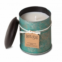 CLOSEOUT - Mountain Forest 10 oz Teal Spice Tin Candle by Himalayan Candles