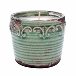 CLOSEOUT-Coconut Lime Vintage Round Pot Swan Creek Candle (Color: Teal) | Swan Creek Vintage Pottery Collection