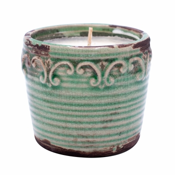 CLOSEOUT-Coconut Lime Vintage Round Pot Swan Creek Candle (Color: Teal)