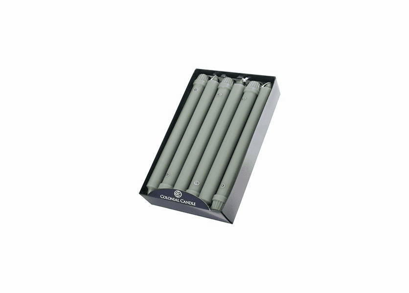 "Colonial Green 10"" Unscented Classic Taper 12-Pack Colonial Candle"