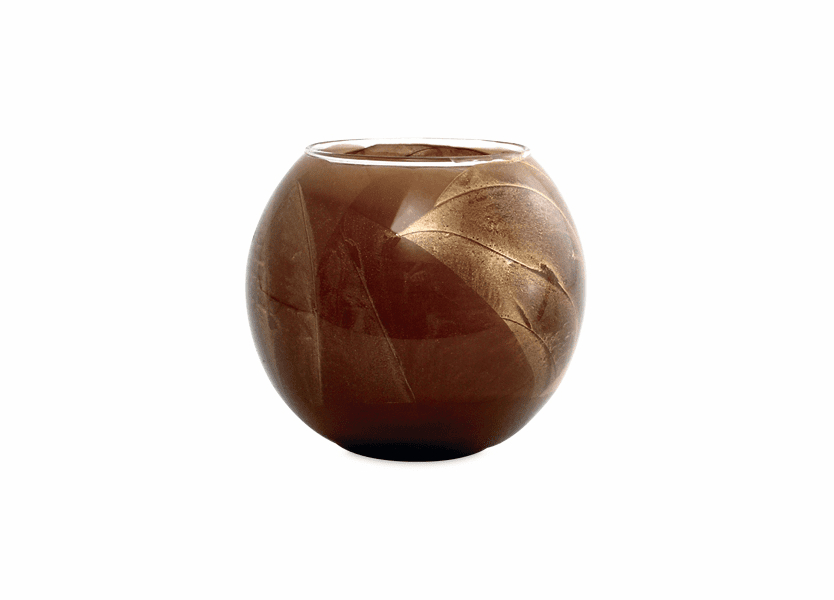 "_DISCONTINUED - 4"" Chocolate Esque Polished Globe Candle"