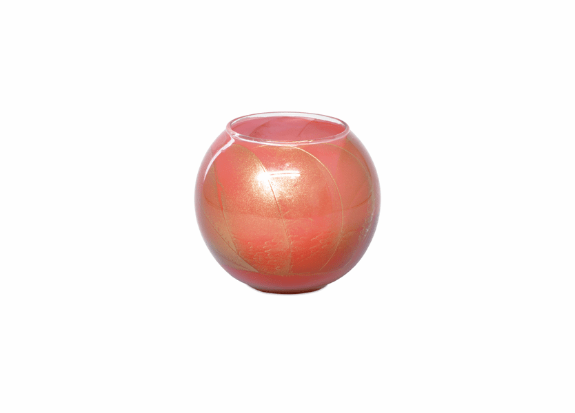 "_DISCONTINUED - 4"" Coral Rose Esque Polished Globe Candle"
