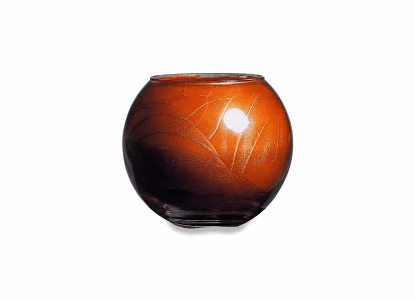 "_DISCONTINUED - 4"" Terra Cotta Esque Polished Globe Candle"
