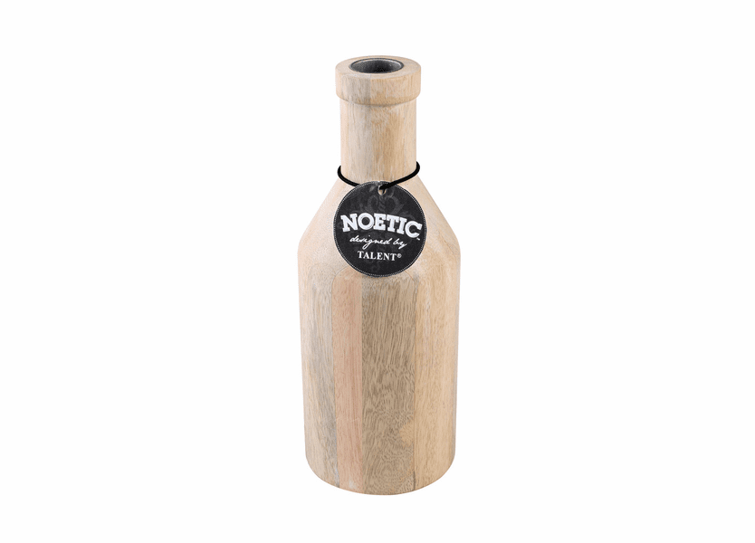 """_DISCONTINUED - 8.25"""" White Washed Wooden Bottle Noetic Candle Holder"""