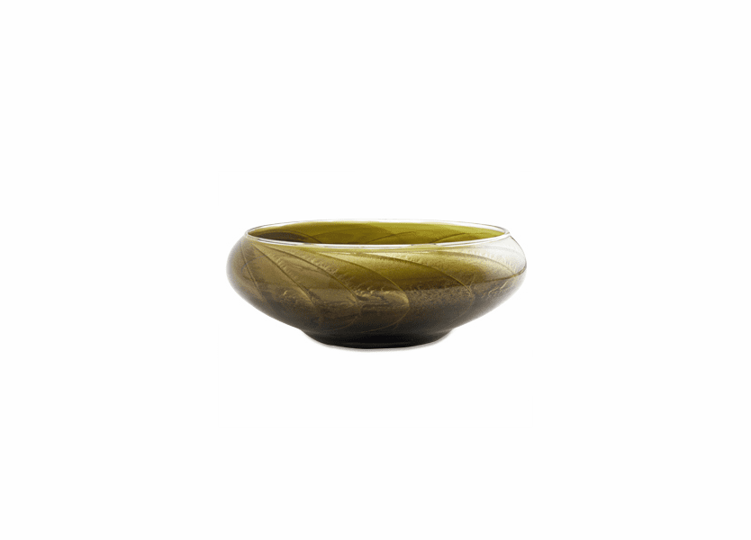 "_DISCONTINUED - 8"" Olive Polished Bowl 4 Wick Scented Candle"