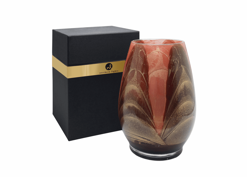 """_DISCONTINUED - 9"""" Chocolate & Coral Esque Harmony Vase - UNFILLED"""