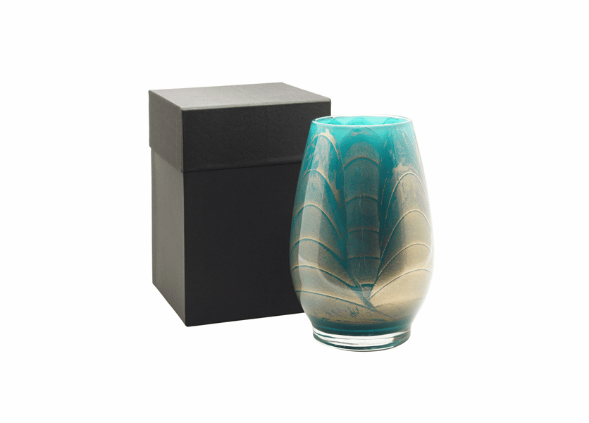 """_DISCONTINUED - 9"""" Turquoise Esque Polished Vase - UNFILLED"""