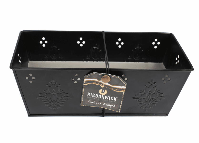 _DISCONTINUED - Amber & Firelight Black Tin Premium RibbonWick Candle