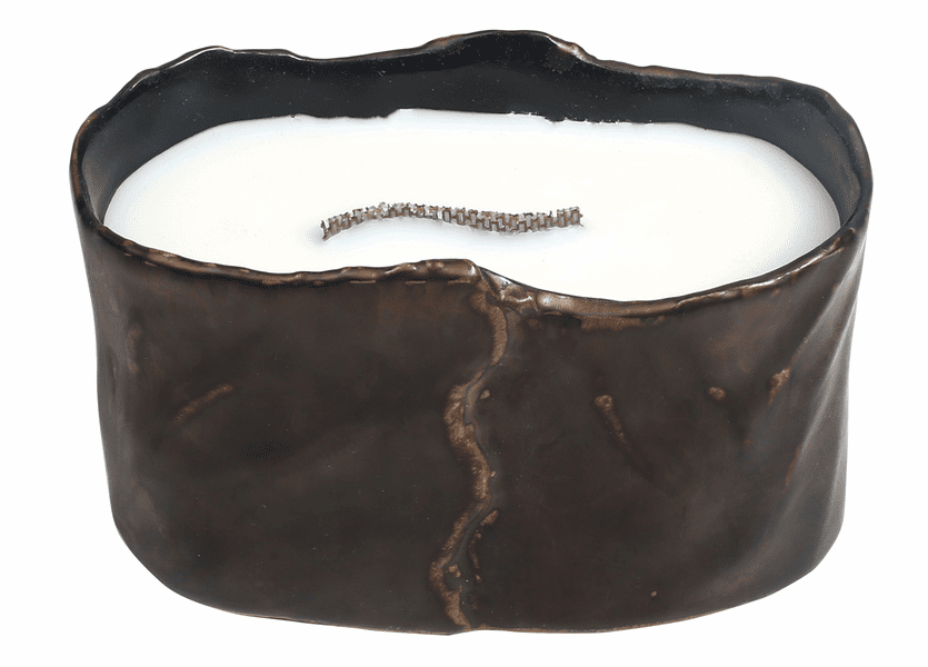 _DISCONTINUED - Amber & Firelight Brownstone Medium Oval RibbonWick Candle