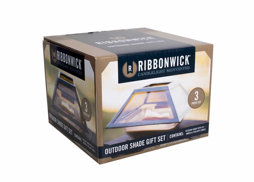_DISCONTINUED - Amber & Firelight RibbonWick Candle Plus Outdoor Shade 3-Piece Gift Set