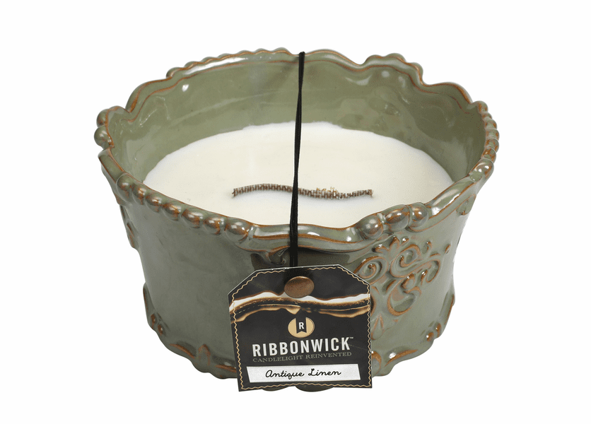 _DISCONTINUED - Antique Linen Round Premium RibbonWick Candle