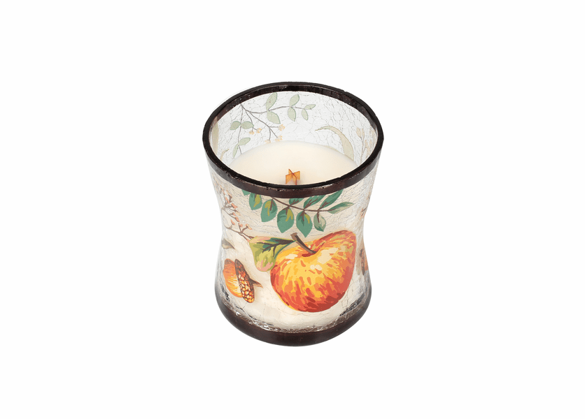 _DISCONTINUED - *Apple Basket Medium Fall Decal Crackle Glass WoodWick Candle