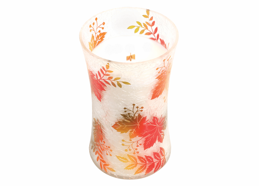 _DISCONTINUED - *Apple Crisp Large Fall Decal Crackle Glass WoodWick Candle