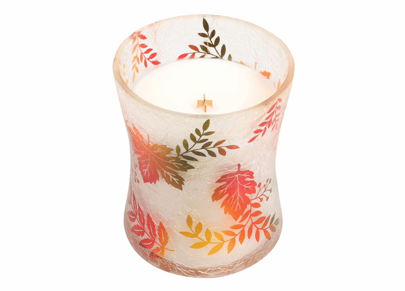 _DISCONTINUED - *Apple Crisp Medium Fall Decal Crackle Glass WoodWick Candle