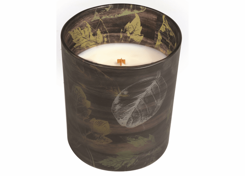 _DISCONTINUED - *Applewood Leaf Decal Glass WoodWick Candle