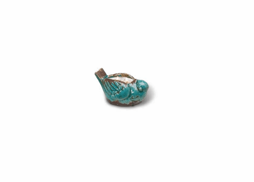 _DISCONTINUED - Apricot Blackberry Swan Creek Bird Pottery Candle (Color: Turquoise)