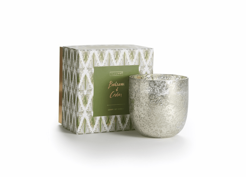 _DISCONTINUED - Balsam & Cedar Luxe Sanded Mercury Glass Illume Candle