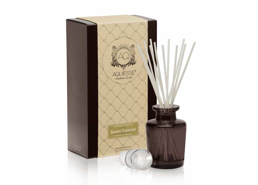 _DISCONTINUED - Bamboo Teakwood Reed Diffuser Set by Aquiesse