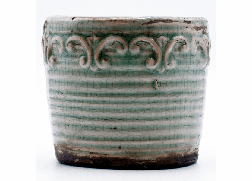 _DISCONTINUED - Barrel-Aged Maple Vintage Round Pot Swan Creek Candle (Color: Teal)