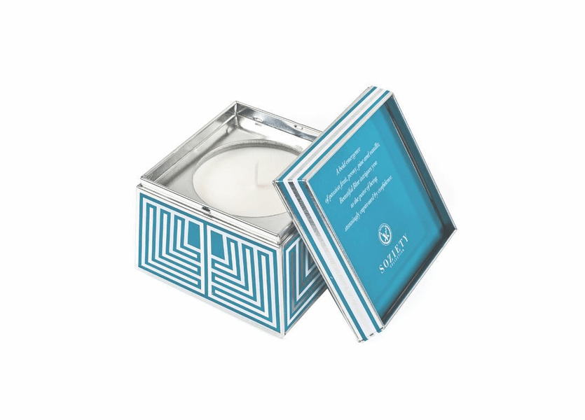 _DISCONTINUED - Beautiful Blue Soziety Trapezoid Tin Votivo Candle