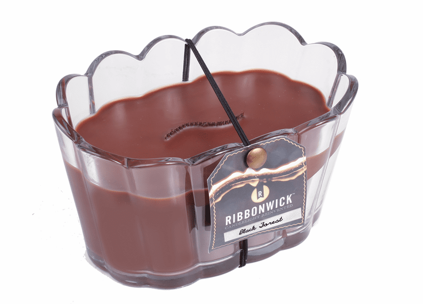 _DISCONTINUED - Black Forest Scalloped Glass RibbonWick Candle