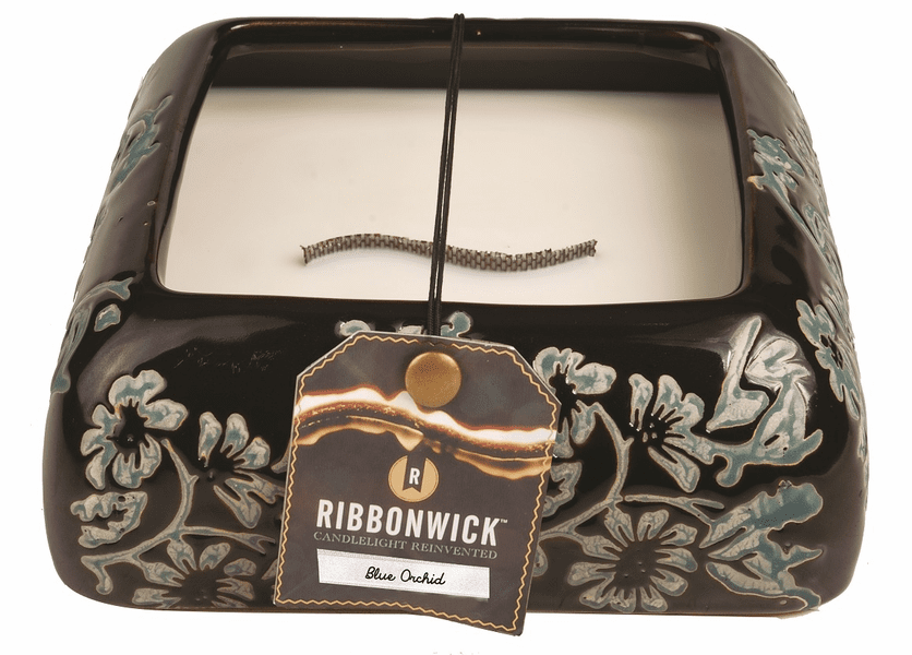 _DISCONTINUED - Blue Orchid Large Square Premium RibbonWick Candle