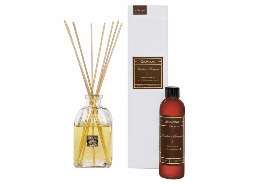 _DISCONTINUED - Bourbon & Bergamot 4 oz. Reed Diffuser Set by Aromatique