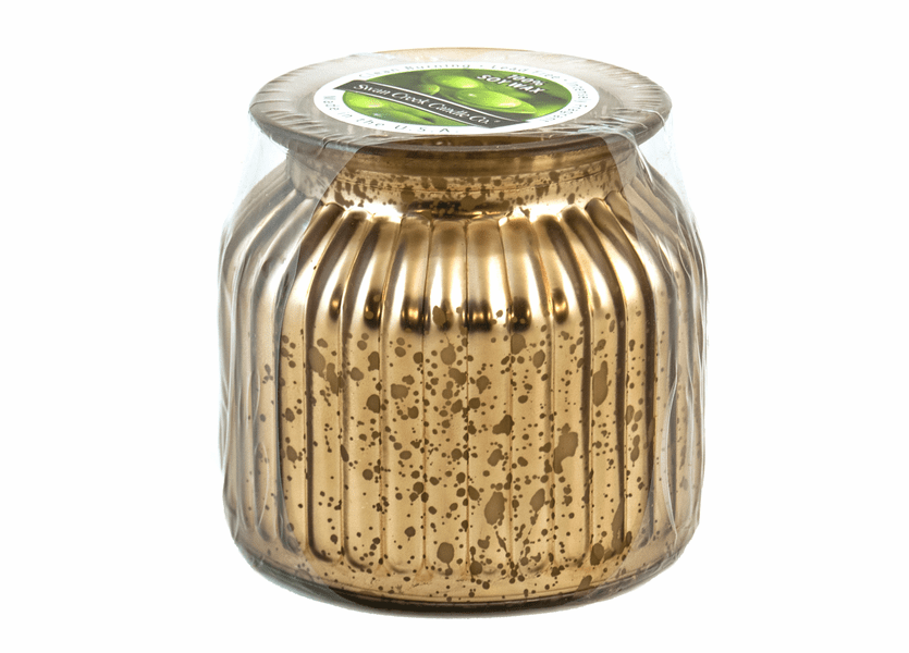 _DISCONTINUED - Bourbon Maple Sugar Gilded Glass Medium Jar Swan Creek Candle