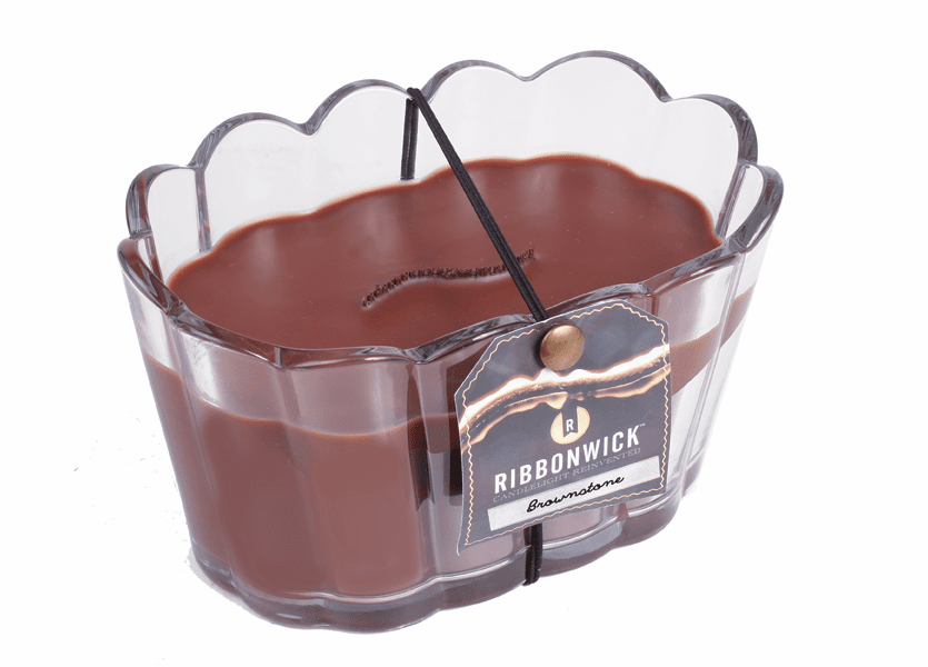 _DISCONTINUED - Brownstone Scalloped Glass RibbonWick Candle