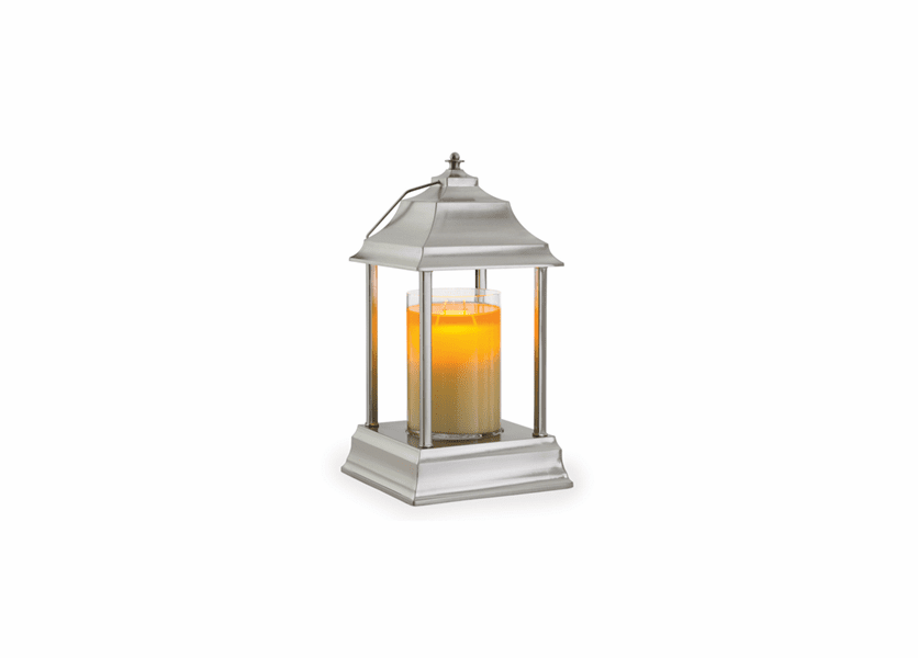 _DISCONTINUED - Brushed Nickel Carriage Candle Warmer Lantern