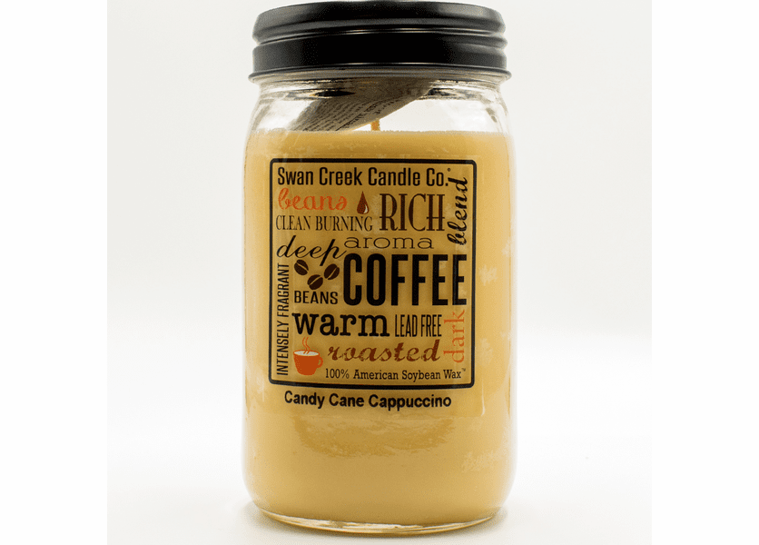 _DISCONTINUED - Candy Cane Cappuccino 24 oz. Swan Creek Kitchen Pantry Jar Candle
