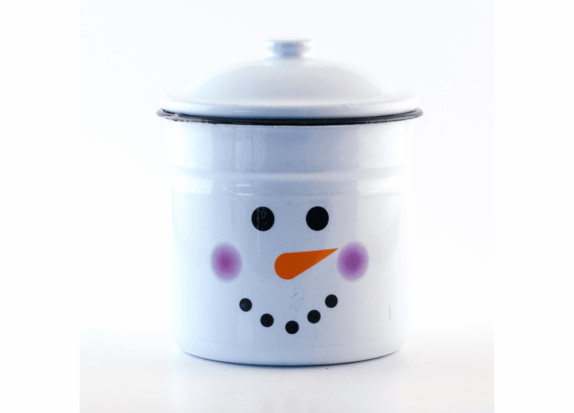 _DISCONTINUED - Candy Cane Cappuccino Festive Holiday Enamelware Large Canister w/Lid Swan Creek Candle