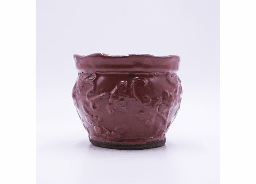 _DISCONTINUED - Candy Cane Cappuccino Holiday Pottery Round Pot Swan Creek Candle (Color: Red)