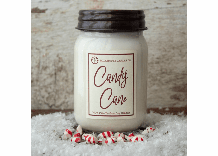 _DISCONTINUED - Candy Cane Meringues 13 oz. Ltd. Edition Mason Jar Candle by Milkhouse Candle Creamery