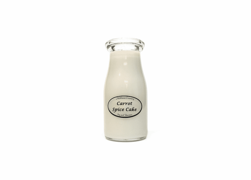 _DISCONTINUED - Carrot Spice Cake 8 oz. Milkbottle Candle by Milkhouse Candle Creamery