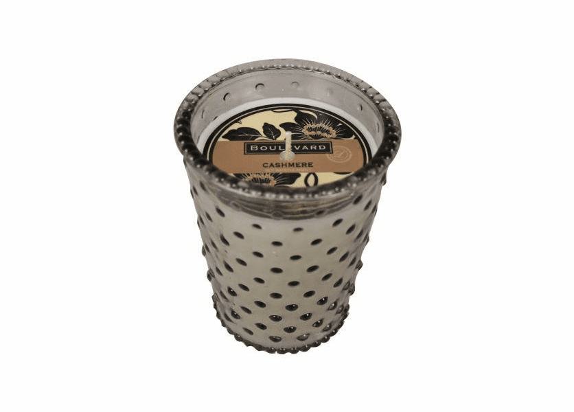 _DISCONTINUED - Cashmere 14 oz. Hobnail Mink Glass Jar Candle by Boulevard