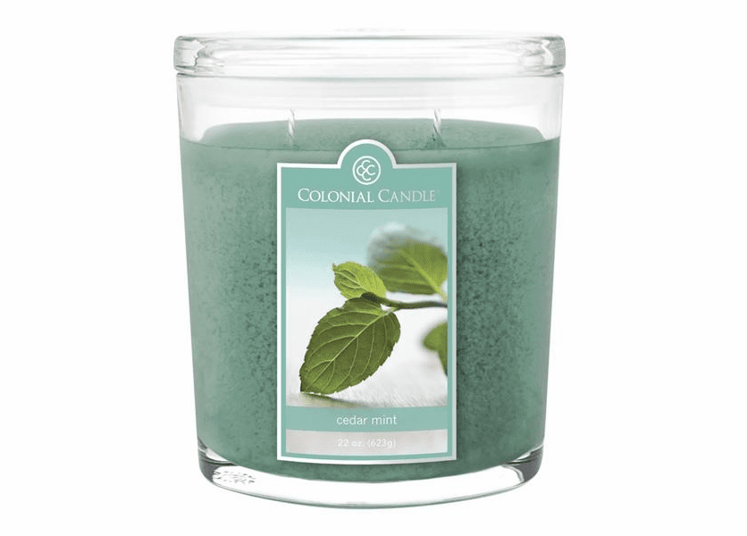 _DISCONTINUED - Cedar Mint 22 oz. Oval Jar Colonial Candle