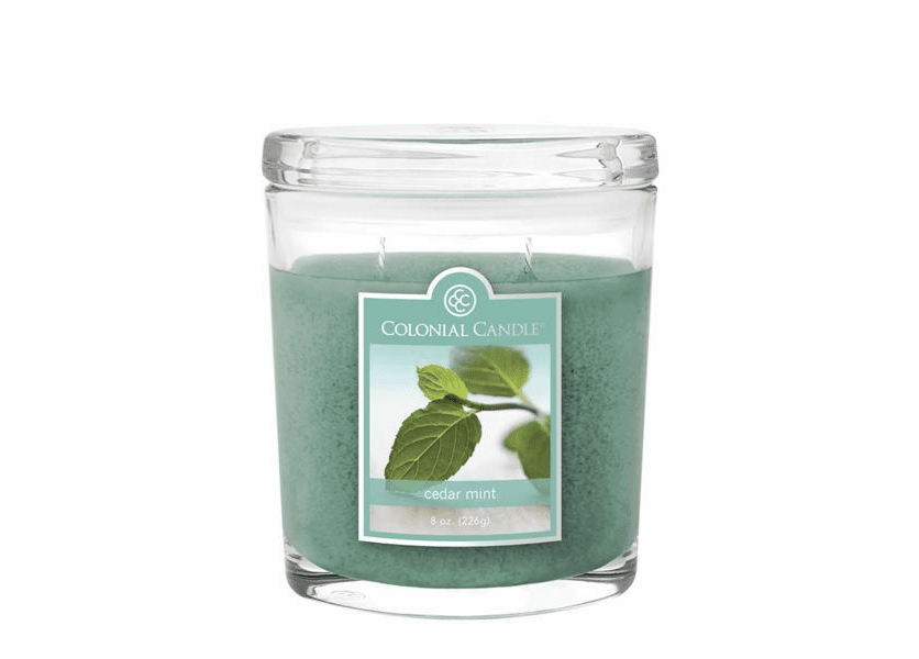 _DISCONTINUED - Cedar Mint 8 oz. Oval Jar Colonial Candle