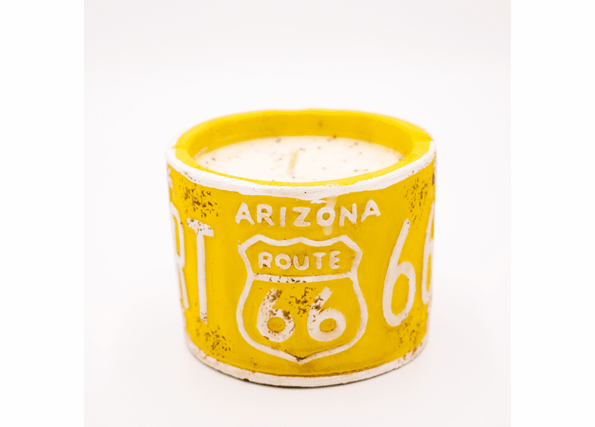 "_DISCONTINUED - Cherry Almond Buttercream American Highway ""Arizona"" License Plate Round Pot Swan Creek Candle"