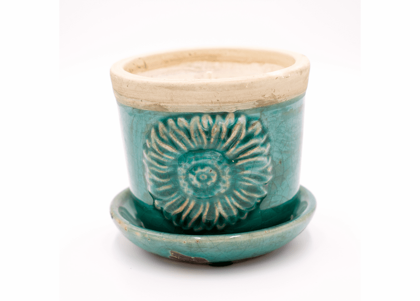 _DISCONTINUED - Cherry Almond Buttercream Turquoise Fiesta Pot Swan Creek Candle