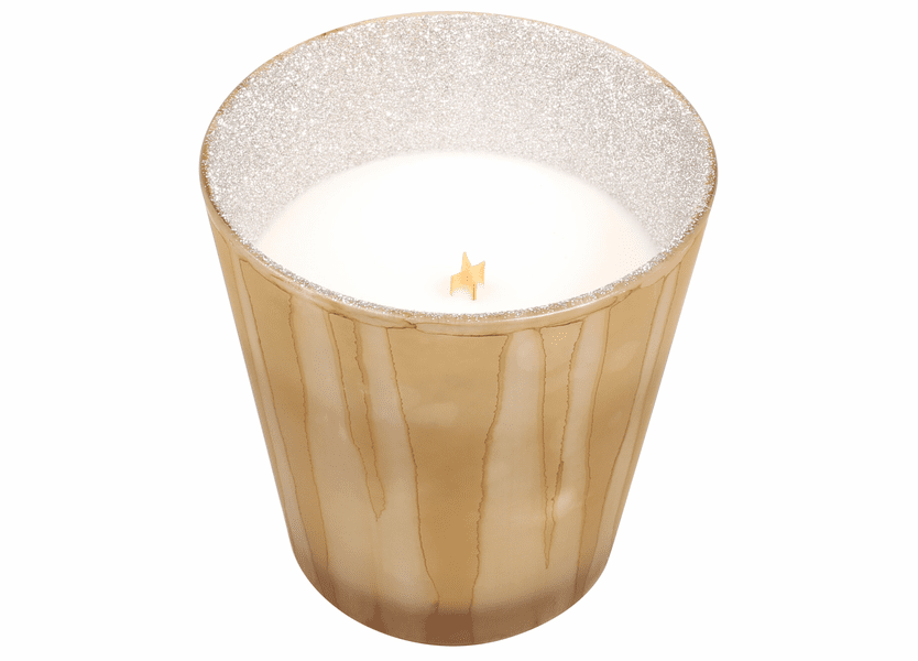 _DISCONTINUED - *Christmas Cake Glitter Glass Tumbler WoodWick Candle