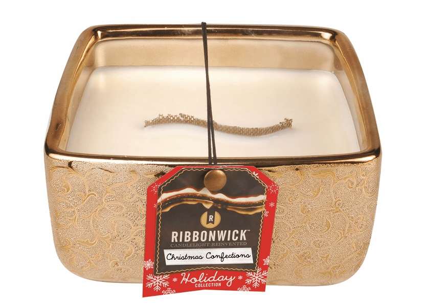 _DISCONTINUED - *Christmas Confections Beaded Metallic Square Large RibbonWick Candle