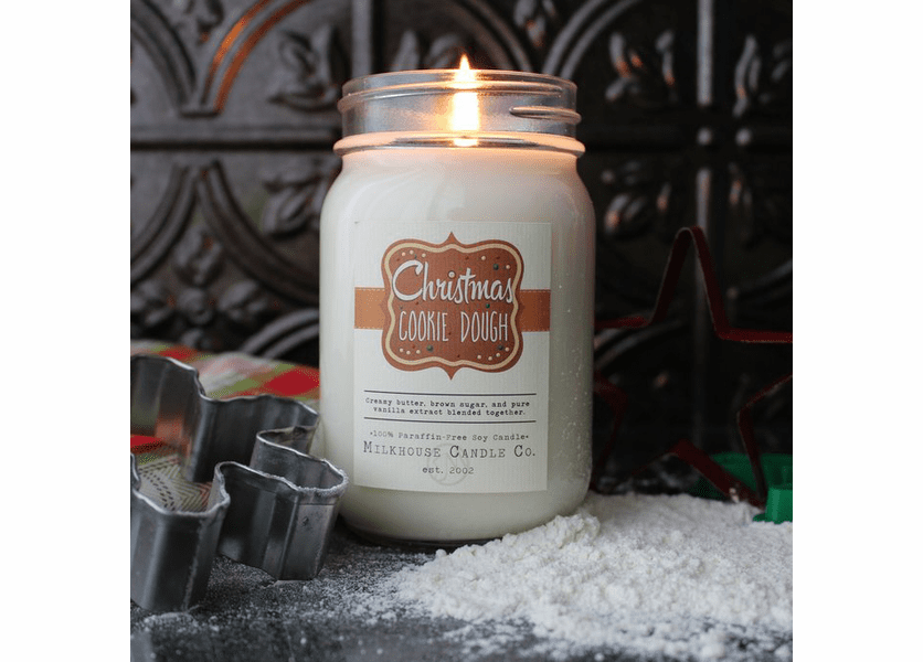_DISCONTINUED - Christmas Cookie Dough 13 oz. Ltd. Edition Holiday Mason Jar by Milkhouse Candle Creamery