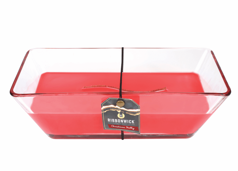 _DISCONTINUED - Christmas Holly Grand Rectangle Decor Glass RibbonWick Candle