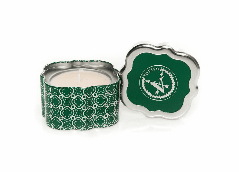 _DISCONTINUED - Christmas Sage Holiday Quatrefoil Tin Votivo Candle