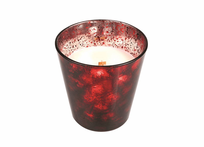 _DISCONTINUED - *Cinnabark Holiday Red Art Glass  WoodWick Candle