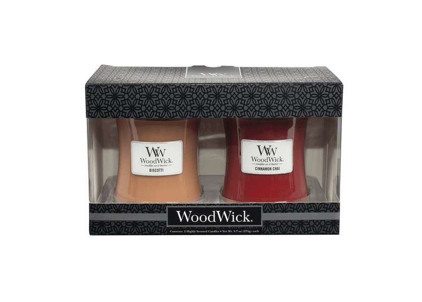 _DISCONTINUED - Cinnamon Chai / Biscotti 10 oz. Candle 2-Pack Gift Set by WoodWick
