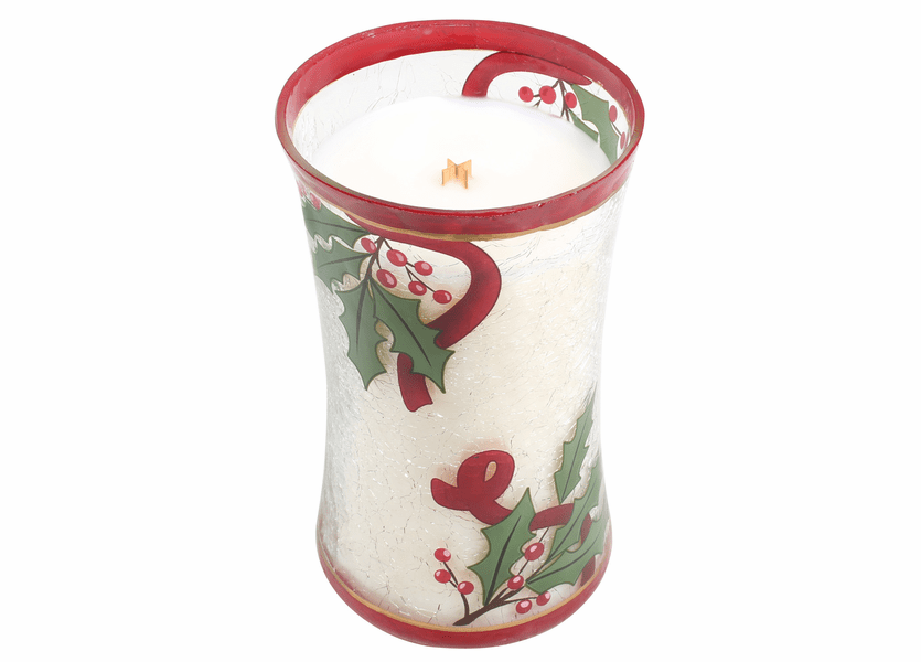 _DISCONTINUED - *Cinnamon Cheer Large Decal Crackle Glass WoodWick Candle